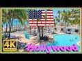 【4K】WALK HOLLYWOOD Beach walking tour Florida 2019 USA virtual hike 4k documentary DJI Osmo mobile 2
