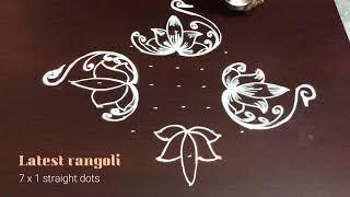 latest rangoli lotus design with 9x1 straight dots || creative lotus design || freehand muggulu
