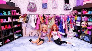 A huge wardrobe Barbie 🎀 A new friend and mega collection of shoes 🎀 A story with dolls 🎀 4K