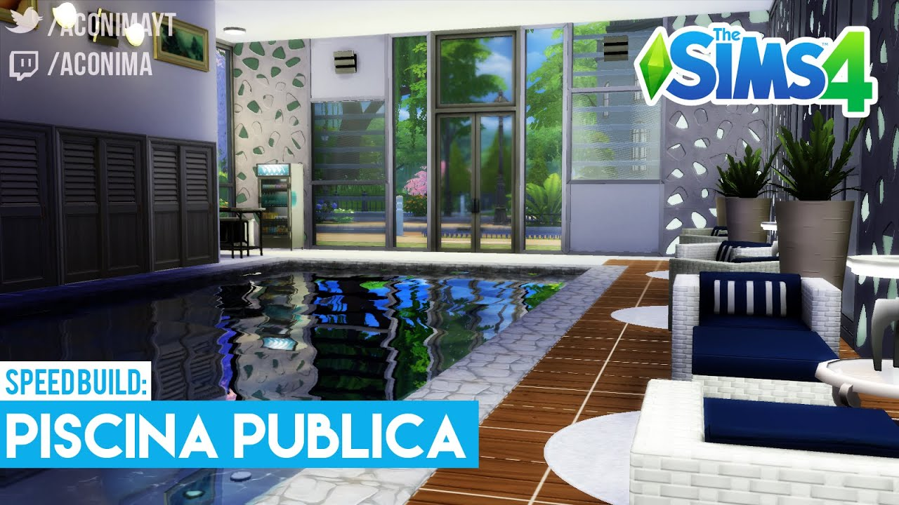 Sims 4 speed build piscina p blica indoor pool youtube for How to build an indoor pool