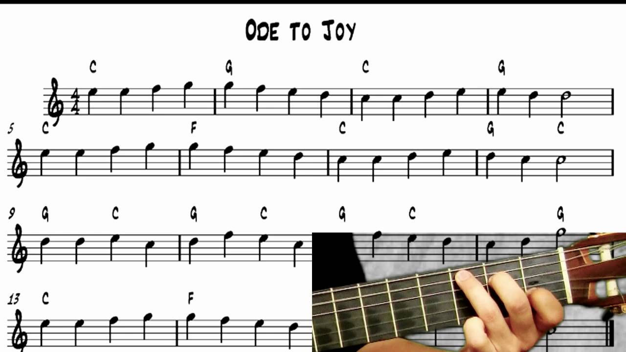 Learn to play guitar ode to joy notereading youtube ccuart Choice Image