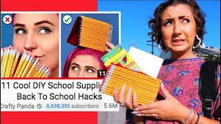 Testing 11 Cool DIY School Supplies! Back To School Hacks by Crafty Panda