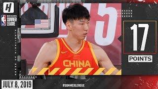 Zhou Qi Full Highlights China vs Hornets (2019.07.08) Summer League - 17 Points, 9 Reb!