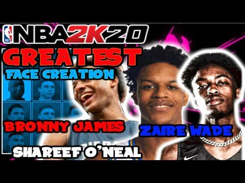 NBA 2K20 HOW TO CREATE ZAIRE WADE, SHAREEF O'NEAL & BRONNY JAMES FACE CREATION  (MYPLAYER)