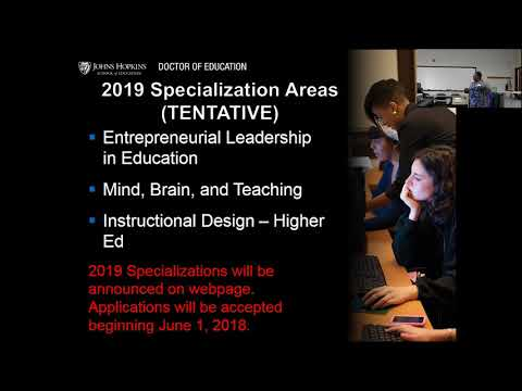 Johns Hopkins School of Education | Doctor of Education | March 2018 Open House