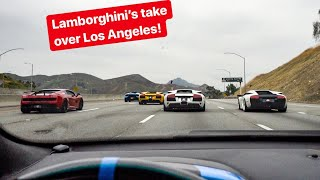 WE TAKE OVER LOS ANGELES IN LAMBORGHINIS! *LOUD V12 MURCIELAGO'S*