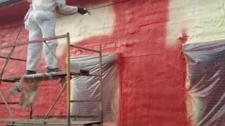 Нанесение фасадной краски на фасад(Окраска фасада акриловой краской окрасочным аппаратом. ООО