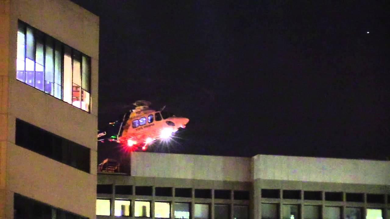 NorthStar NJ State Police Medevac Helicopter landing @ University Hospital  Newark NJ