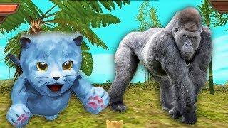 Встретили Гориллу и ТИГРА в симуляторе маленького котенка. Мультик игра для детей