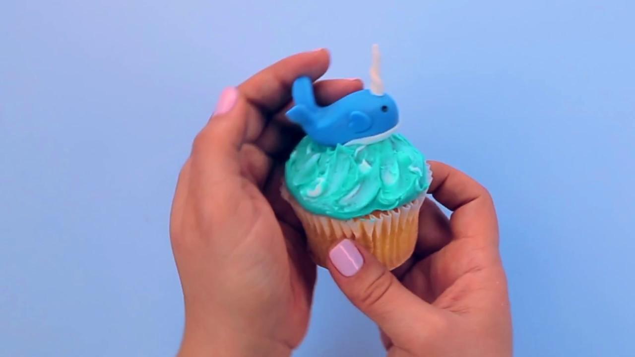 Satin Ice Fondant Narwhal Cupcake Tutorial Youtube