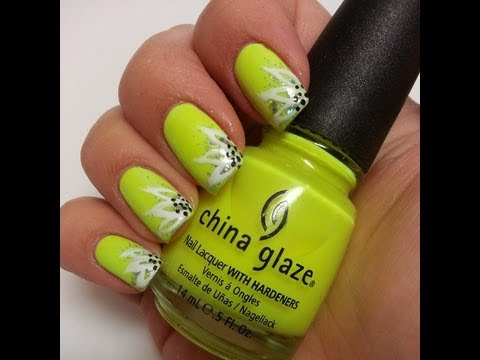 Simple Spring Flower Neon Yellow Easy Nail Art Tutorial Youtube