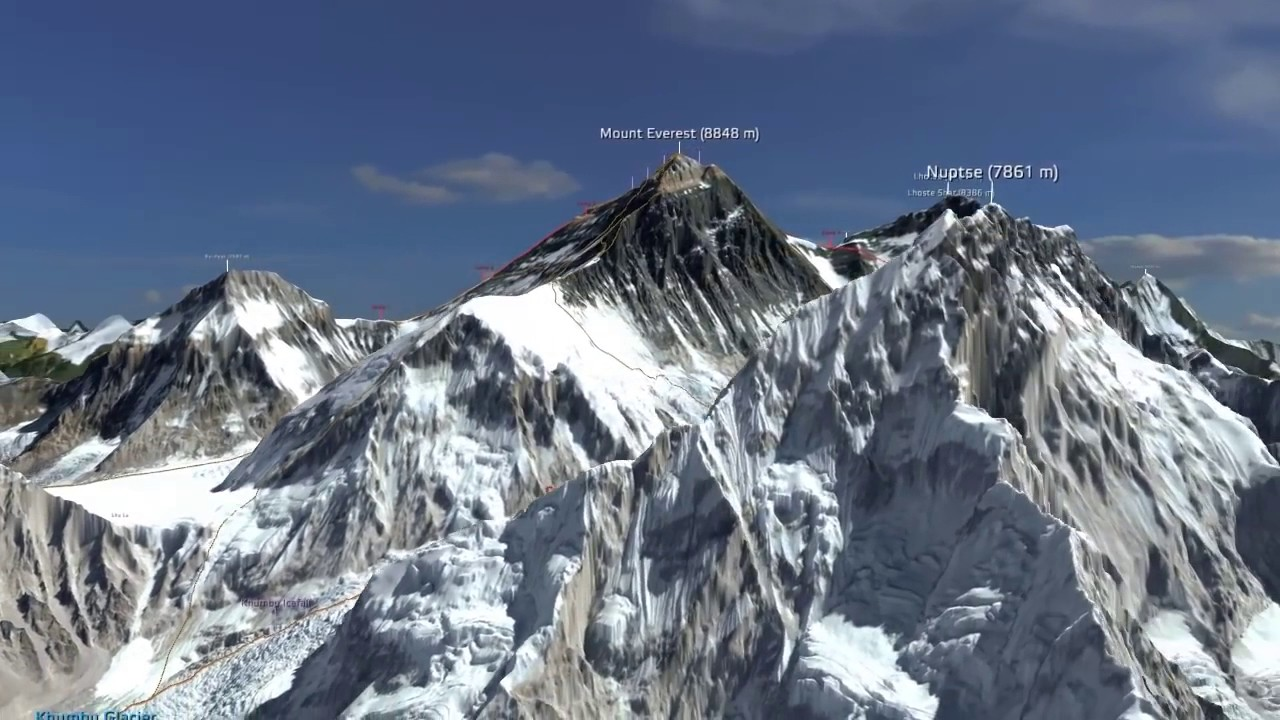 Detailed Animation of Mount Everest in 3D (HD version)