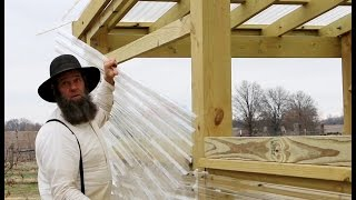 BUILDING A GREENHOUSE IN WINTER - TUFTEX PANELS AND TOOL SHED