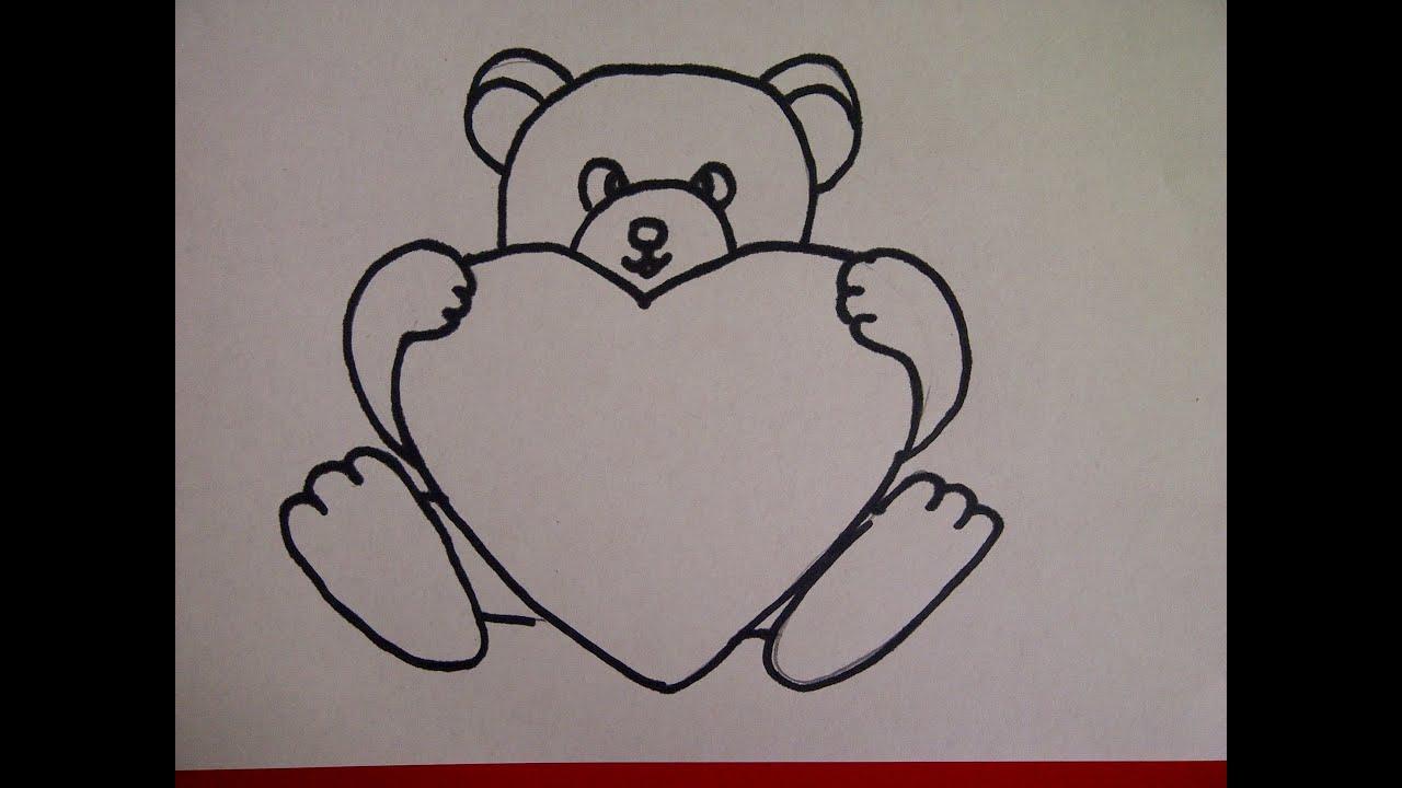 рисунки медведя с сердцем