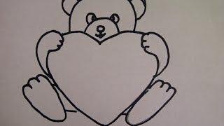 Рисуем мишку Тедди с огромным сердцем. Для  поздравительной открытки.