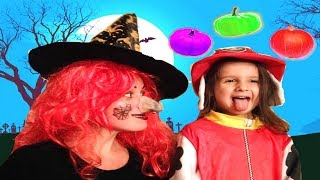 Pretend play halloween  game for kids with .Funny video for children.