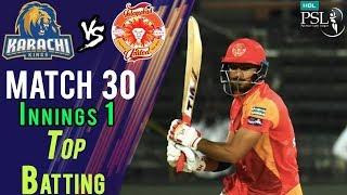 Islamabad United  Batting | Karachi Kings Vs Islamabad United  | Match 30 | 16 March | HBL PSL 2018