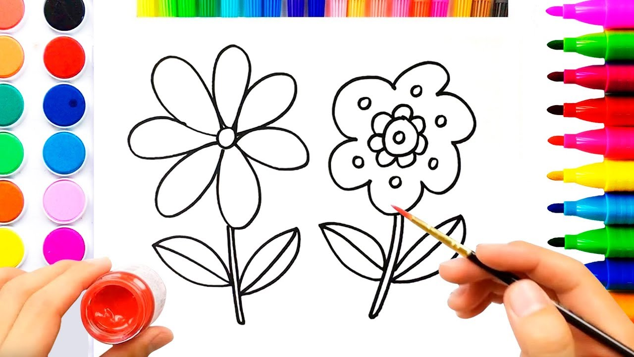 Flowers Coloring Pages For Children Easy Drawing Video For Kids Youtube