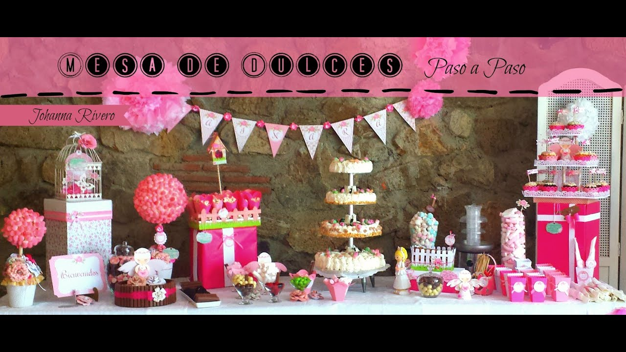 Decoracion mesa de dulces pomp n de cartulina scrapbook for Ideas para decorar mesa de dulces