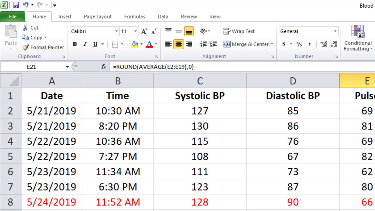 Utilizing Excel to Monitor Your Blood Pressure