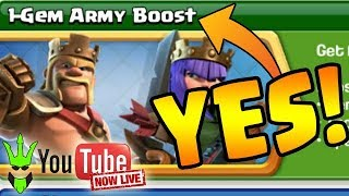 1 GEM BOOSTS! - 4 Hours of Boosting! | @Clashbashing on Twitter | Stream Replay | Clash of Clans