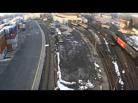 Сход маневрового состава с углем на стрелке в Чехии 19 февраля 2015 года