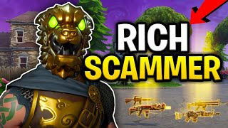 Crazy Rich Scammer Loses Alot of Guns! (Scammer Get Scammed) Fortnite Save The World