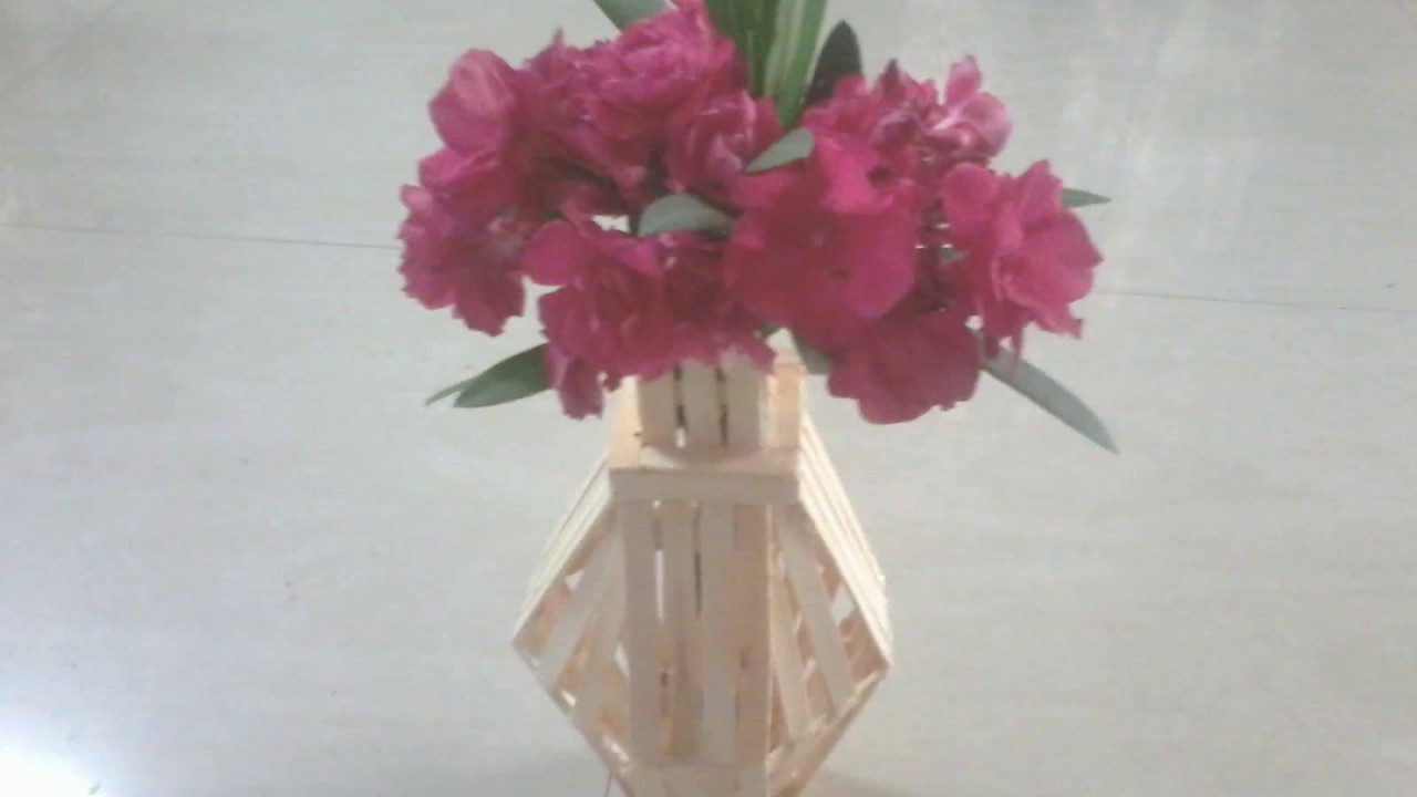 DIY How To Make Flower Vase Using Popsicle Sticks Ice Cream