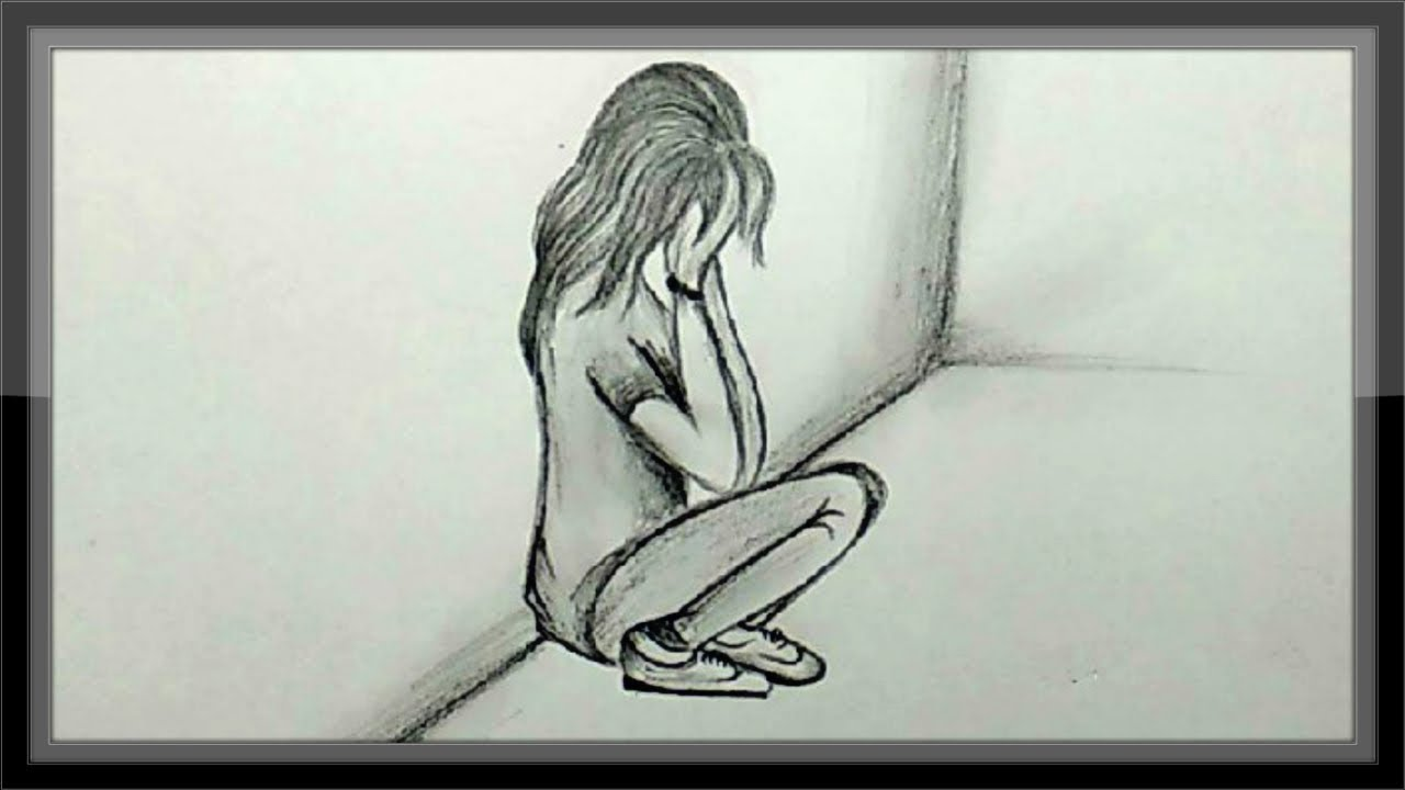 Cool easy drawings pencil drawing a sad girl picture easy