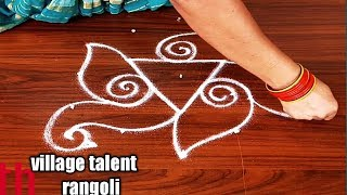 #SIMPLE PEACOCK DEEPAM RANGOLI DESIGN FOR BEGINNERS WITH 5DOTS MADE EASY TO DRAW FOR EVERYONE
