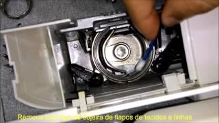 Limpeza e lubrificação da lançadeira Máquina de costura Singer e Elgin