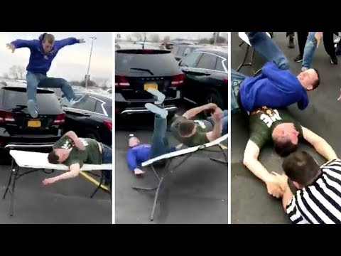 Woody and Wilcox - Fans Re-create Wrestle Mania In The Parking Lot