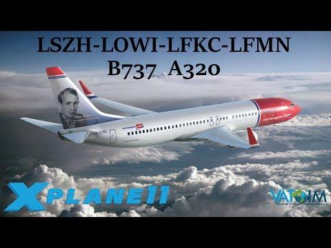 X-Plane 11 | LSZH-LOWI-LFKC-LFMN | 2 Scenery GIVEAWAYS!! | VATSIM | INNSBRUCK Approach!