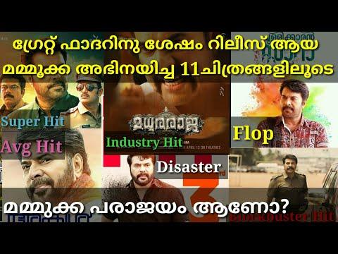 ഗ്രേറ്റ്ഫാദറിനു ശേഷമുള്ള മമ്മുക്ക സിനിമകൾ  After Great Father Mammootty Hit and Flop malayalam movie