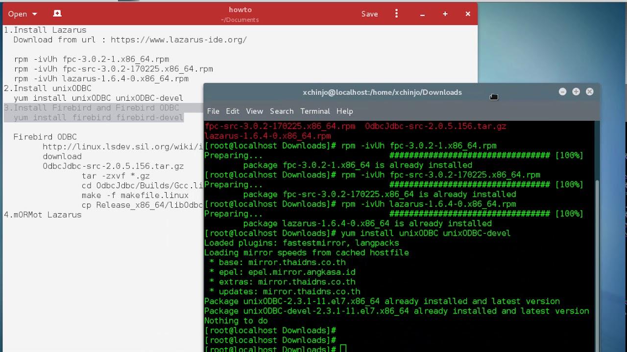 CentOS Install Lazarus and FireBird ODBC