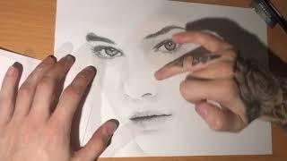 Realistic portrait drawing,Timelapse (Palvin Barbara)