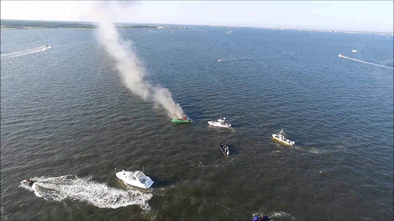 Boat fire on barnegat bay july 25 2015 doovi for Barnegat bay fishing