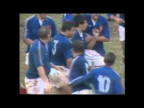 Peter FitzSimons getting battered by the French 1990