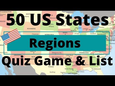 50 US States Regions Quiz Game & List