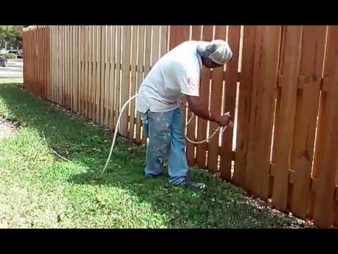 steps on how to stain a fence with a sprayer youtube. Black Bedroom Furniture Sets. Home Design Ideas