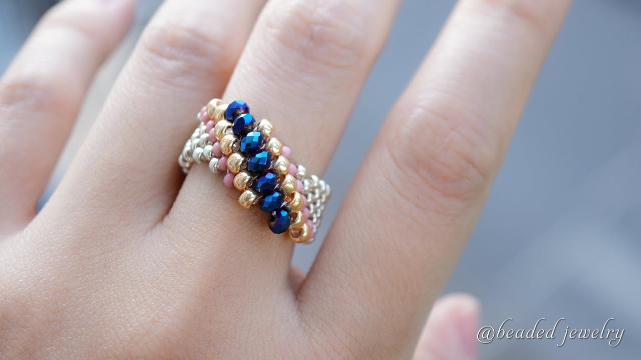 Simple and super easy to make beaded ring for beginners. Jewelry making