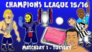 Champions league match day 1 tues(15/16 ronaldo hat-trick, psg 2-0 malmo, man city juventus 1-2)