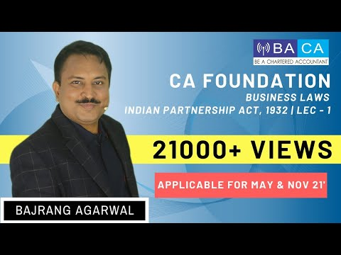 CA Foundation | Business Laws |  The Indian Partnership Act 1932 | Lecture 1
