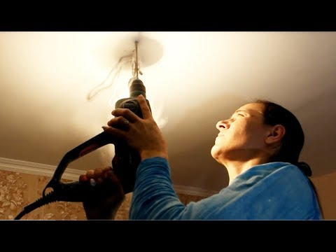 Как повесить люстру на потолок из бетона без крюка видео