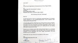 Sanjay Leela Bhansali's Agreement Letter To Karni Sena.