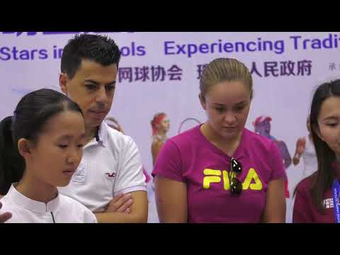 Ashleigh Barty visits a school in Zhuhai