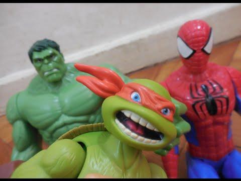 Tartarugas Ninja Teenage Mutant Turtles Filme Homem Aranha Hulk Boneco Marvel Toys Juguetes Kids
