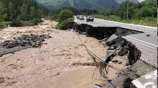 река Баксан размыла участок трассы А-158