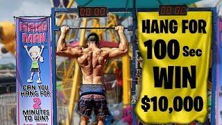 HANG CHALLENGE! 100 SECONDS, 10000 DOLLARS! (NINJA WARRIOR ATTEMPT)