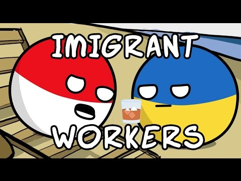 Poland and Ukraine workers - Countryballs
